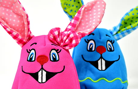 pink and blue eastern bunny puppet