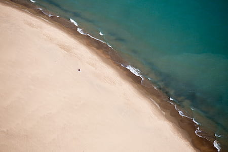 aerial photography of brown coast beside body of water
