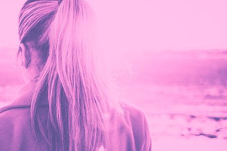Girl Turned Back in Violet Duotone