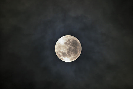 moon surrounded with grey clouds