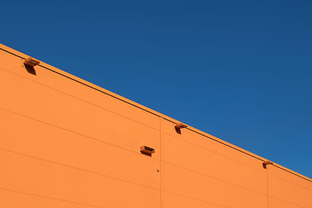 building, orange, blue, sky, facade