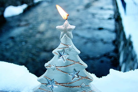 selective-focus photography of lit white Christmas tree candle