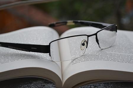 black framed temple eyeglasses on a open boook