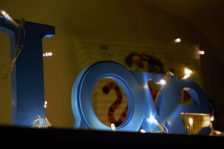 Blue Love Wooden Signage