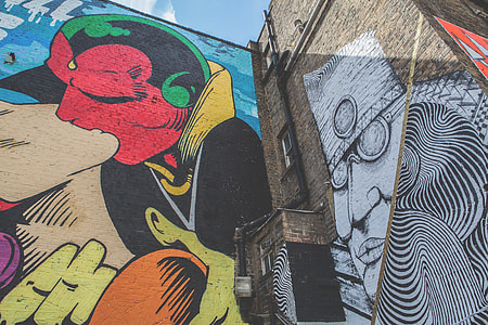 Wide angle shot of a large street art mural captured in Shoreditch, East London with a Canon DSLR