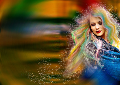 woman with multicolored hair photo
