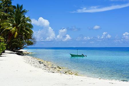 green boat on white sand beach