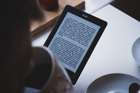 turned on Kindle e-book reader