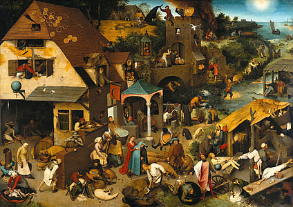 village and people painting