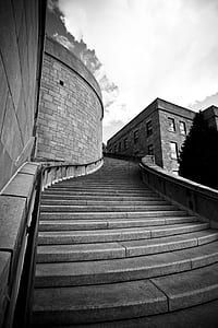 graycale photography of concrete staircases