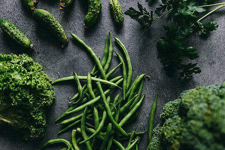 Parslel, cucumbers, green peas, and other greenery